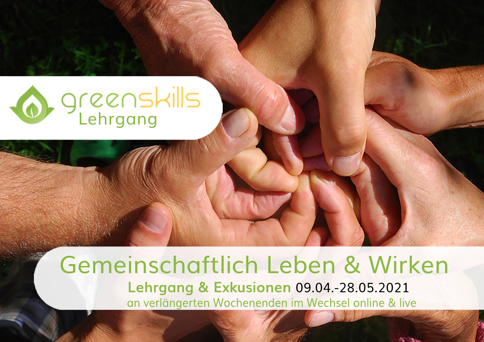 greenskills Flyer_gemeinschaftliches Leben&Wirken